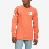Champion Men's Life Heritage Long-Sleeve Tee, Big C & Vertical Logo