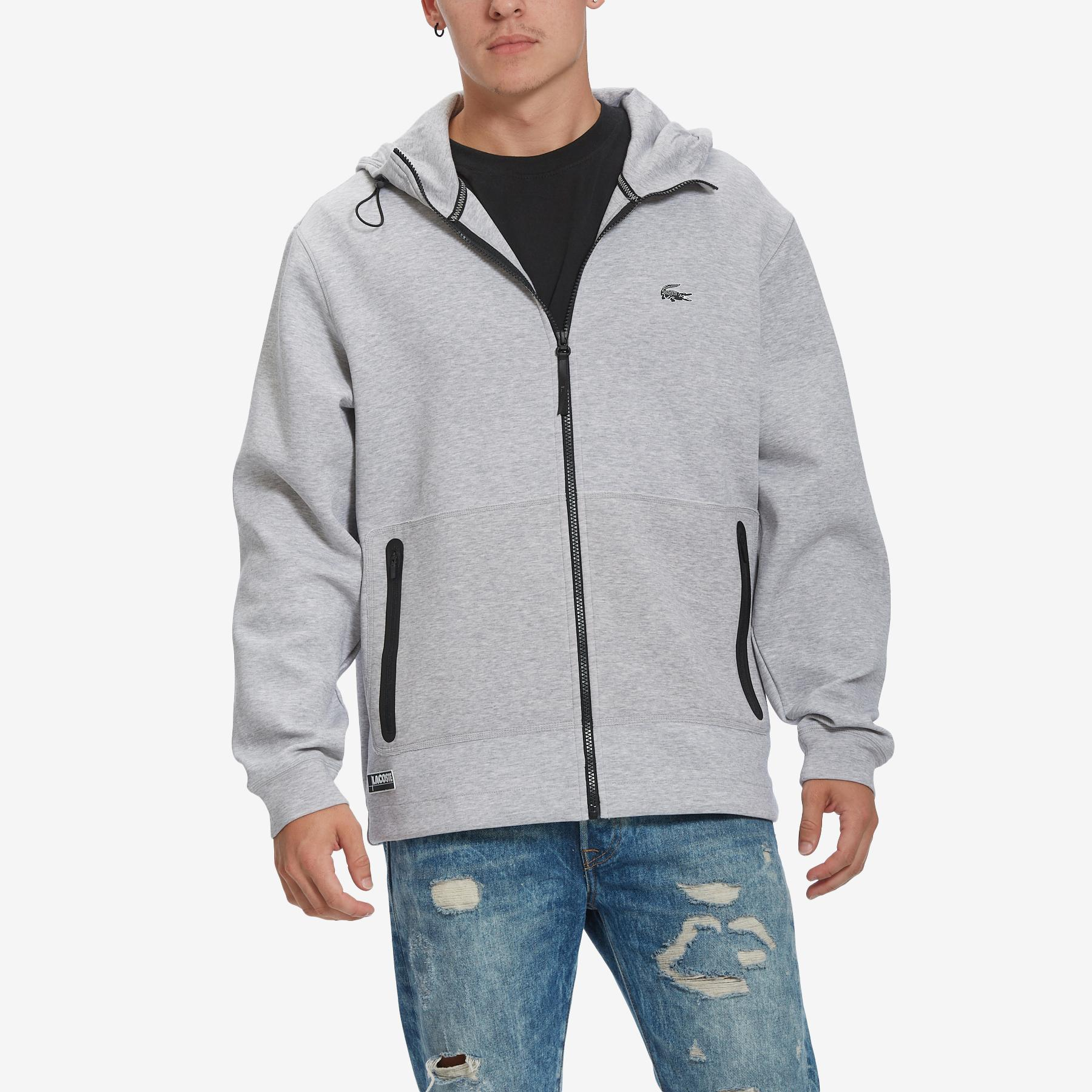 Men's Branded Hooded Zippered Jacket With Badge