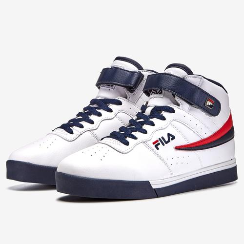 Side Angle View of FILA Men's Vulc 13 Mid-Top Sneakers