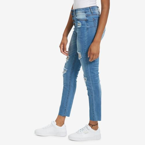 Third view of Women's Destructed Skinny Jean by GOGO JEANS