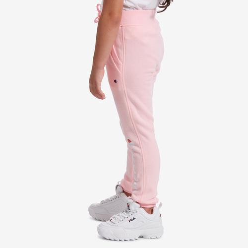 Left Side View of Champion Girl's Preschool Joggers, Vertical Logo