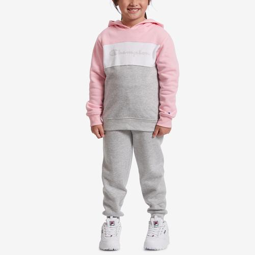 Front View of Champion Girl's Preschool Colorblocked Hoodie, Script Logo