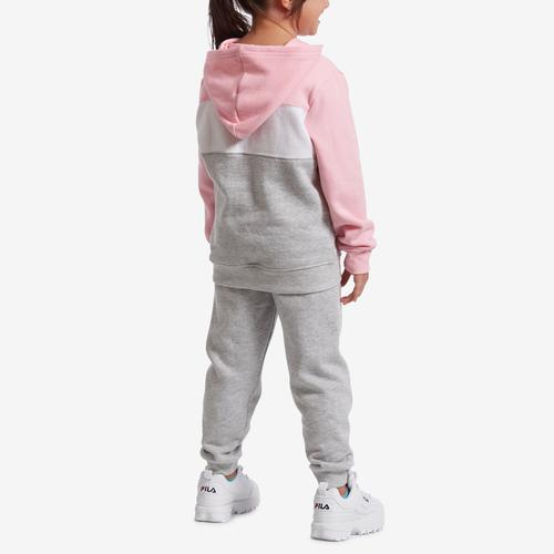 Back View of Champion Girl's Preschool Colorblocked Hoodie, Script Logo