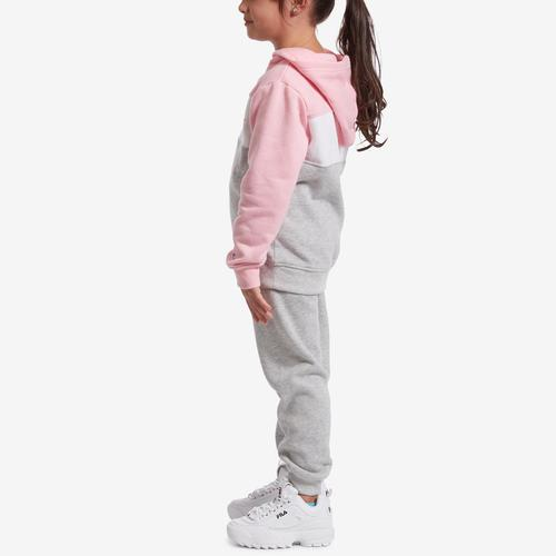 Left Side View of Champion Girl's Preschool Colorblocked Hoodie, Script Logo