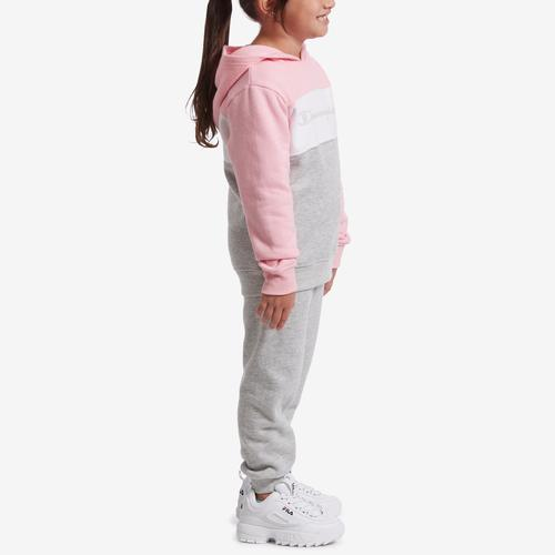 Right Side View of Champion Girl's Preschool Colorblocked Hoodie, Script Logo