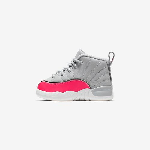 Left Side View of Jordan Girl's Toddler 12 Retro Sneakers