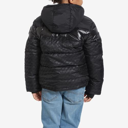 Second view of Boy's Preschool Color-Block Puffer Jacket by Nike