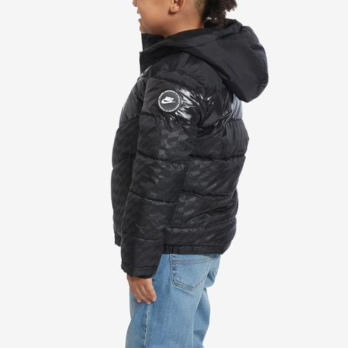 Third view of Boy's Preschool Color-Block Puffer Jacket by Nike