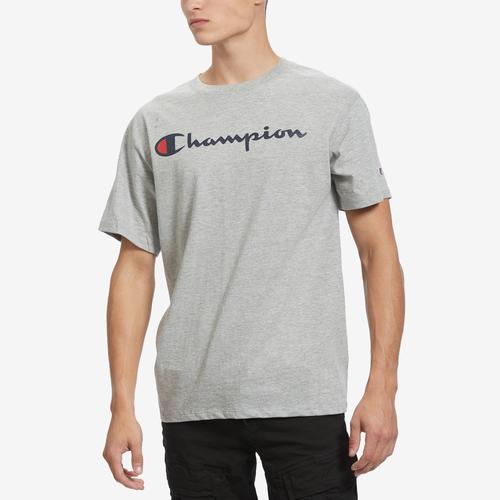 Front View of Champion Men's Graphic Jersey Tee, Script Logo