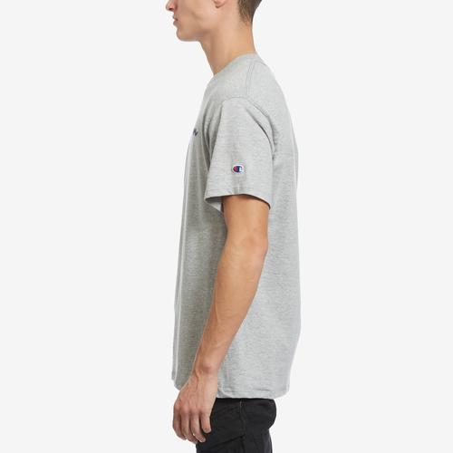 Left Side View of Champion Men's Graphic Jersey Tee, Script Logo