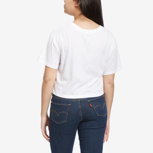 Back View of Champion Women's Cropped Tee, Script Logo