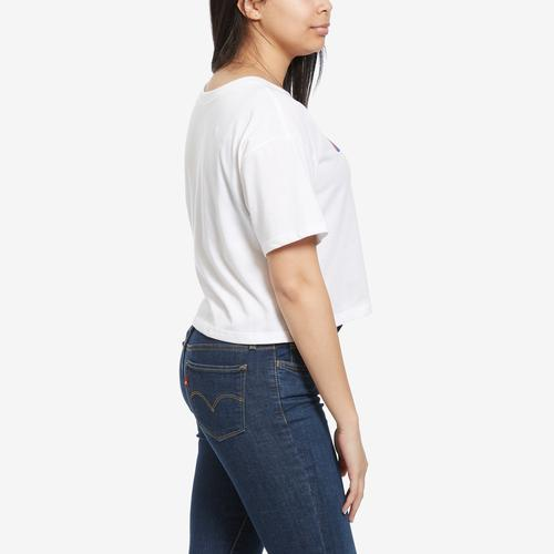 Left Side View of Champion Women's Cropped Tee, Script Logo