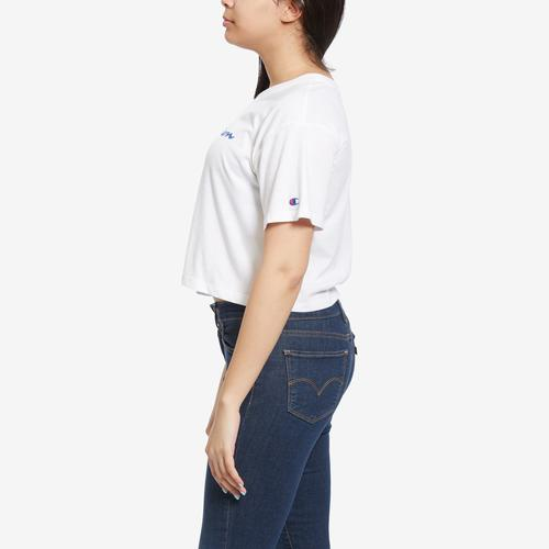 Right Side View of Champion Women's Cropped Tee, Script Logo