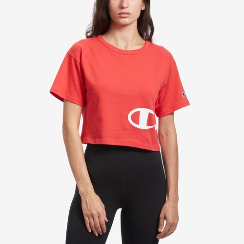 Front View of Champion Women's Life Crop Tee, Shadow C