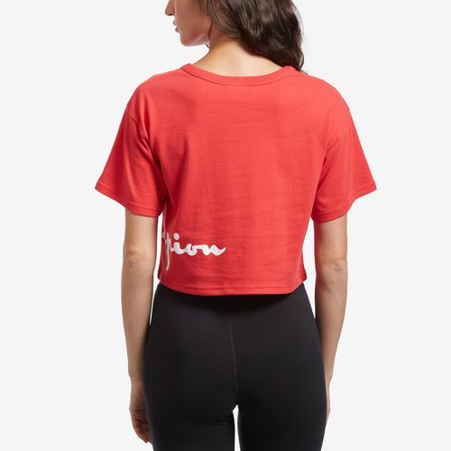 Back View of Champion Women's Life Crop Tee, Shadow C