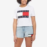 Tommy Jeans Women's Cropped Flag Logo Tee..